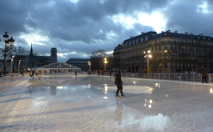Last Days for Ice Skating in Front of the City Hall in Paris
