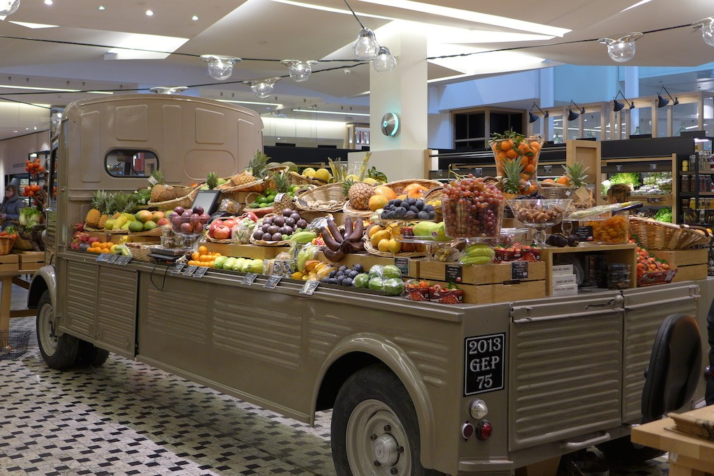Fruit and vegetables truck at La Grande Epicerie de Paris