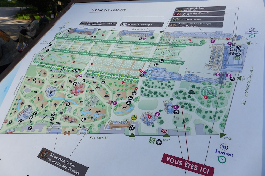 Map of the Jardin des plantes Paris