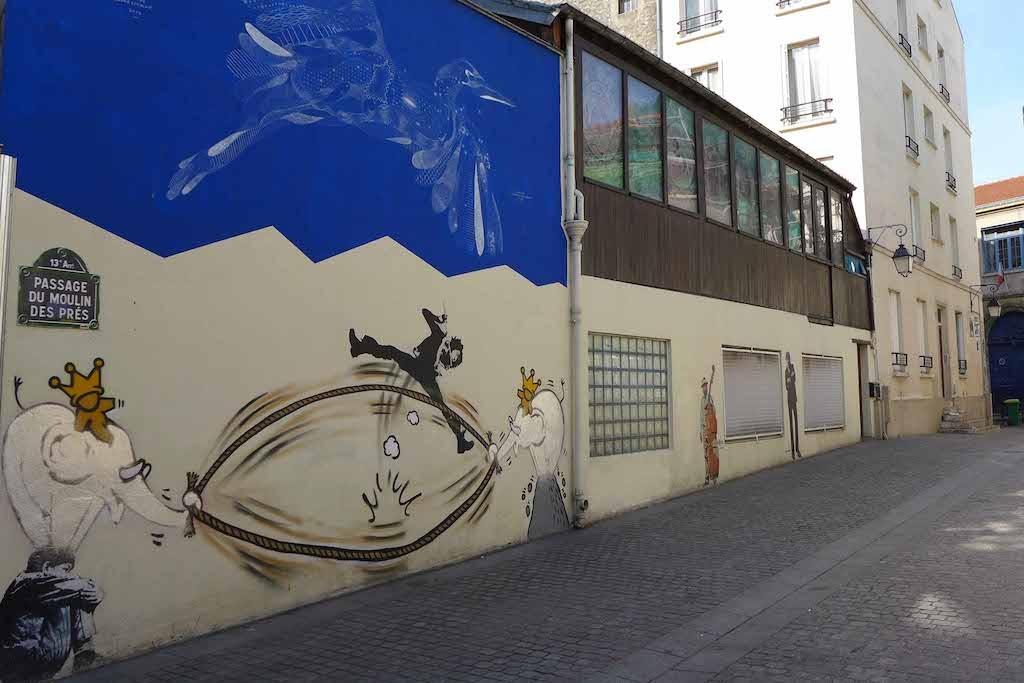 Butte aux Cailles - Passage  du Moulin des Pres - Street art