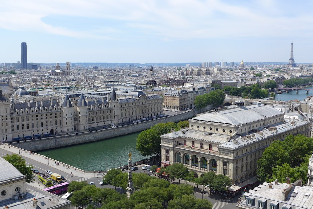 Tour Saint Jacques - View over Paris: towards South