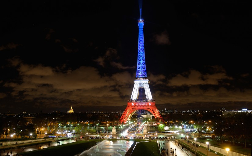 The Eiffel Tower Lit Up in Blue White and Red