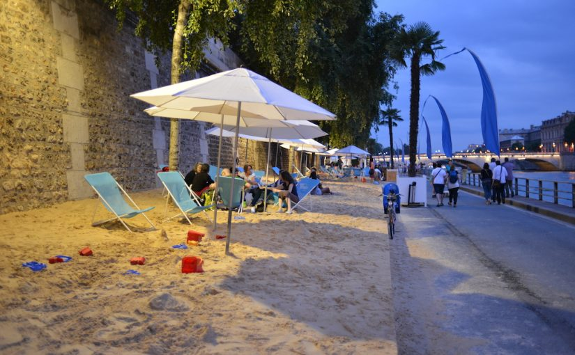 Paris Plages by night- Sandy beach by the Seine
