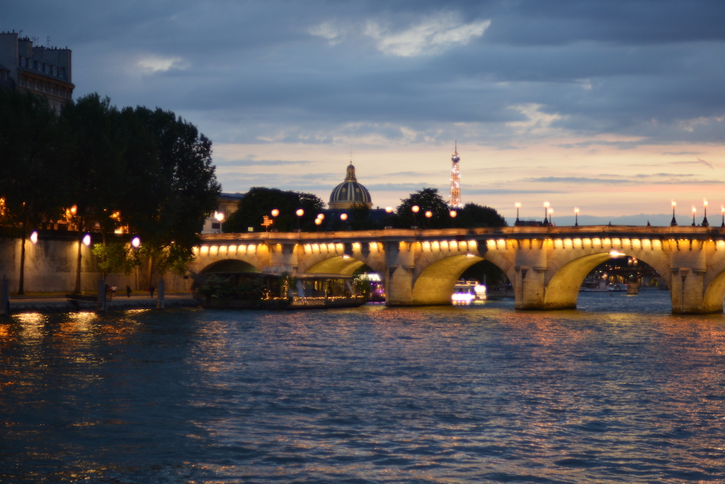 Paris Plages by night- The Eiffel Tower in the background