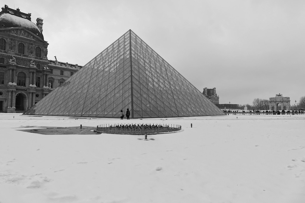 The Pyramid of the Louvre surrounded by snow - Paris - February 2018